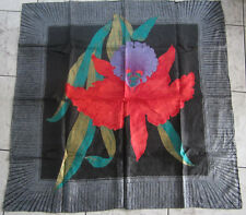 """USE BLACK RED ORCHID FLORAL VINTAGE THAI SILK  32"""" SQUARE SCARF FOR LADY"""