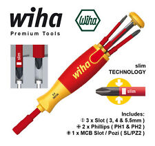 WIHA 38613 LiftUp VDE 6 Piece Magazine Bit Holder / Screwdriver with slimBits