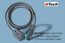 1m All Black 16A Plug to 13A 1-Way Adaptor - 1.5mm H07RN-F Cable - EVENT/STAGE
