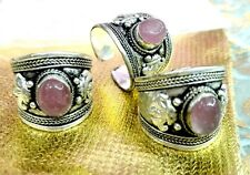 cute old Tibet Silver Ring Pretty Crystal Stone Adjustable Religion one ring