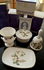 4 Pce Wedgewood Wild Strawberry  Vase, Bell, Round Box & Oblong Tray NEW IN BOX