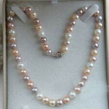"Charming 18"" Natural 7-8mm Multicolor Freshwater Cultured Pearl Necklace"