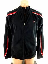 CHAMPION MENS BLACK & RED POLYESTER CASUAL TRACK COAT JACKET SIZE M
