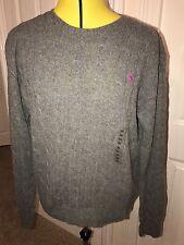 Bnwt Ralph Lauren Grey julianna laine mérinos/cachemire pull ras du cou. taille xl