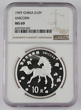 CHINA 1997 Unicorn 10 Yuan 1 Oz Silver Uncirculated Coin NGC MS69 GEM BU