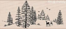 Winter Trees With Deer Scene Wood Mounted Rubber Stamp HERO ARTS - NEW, K5524