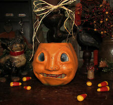 Primitive Antique Vtg Style Retro Halloween Paper Mache Jack-O-Lantern Bucket