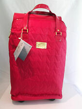 JOY MANGANO THREE PIECE QUILTED LUGGAGE SET WHEELED DUFFLE CARRY ALL/BAG RED NWT