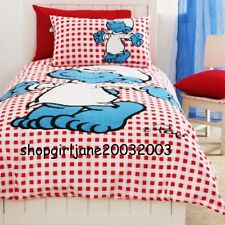 Smurfs ✌ Red/White Lazy Chequered✌Single/US Twin Bed Quilt Doona Duvet Cover Set