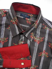 TED BAKER LONDON MENS XL 5 CASUAL FRENCH CUFF DRESS SHIRT BROWN RED FLORAL SILKY