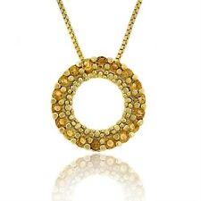 "18k Gold over 925 Silver Citrine Circle Eternity Pendant, 18"""