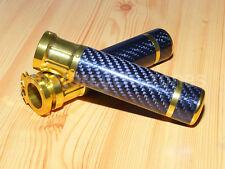 """Gold 7/8"""" Carbon Fiber Handlebar Hand Grips For HONDA YAMAHA KAWASAKI SUZUKI New"""