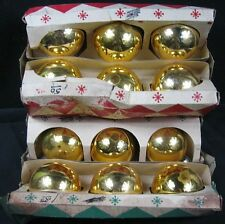 """2 Boxes of 6 Gold Corby 2 1/2"""" Ornaments"""