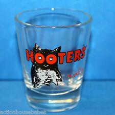 HOOTERS Shot Glass ,black and white OWL on Front with orange words, Plano, TX