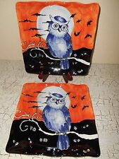 4 MAXCERA Owl Silhouette Dinnerware Square Dinner Plates Fall Halloween