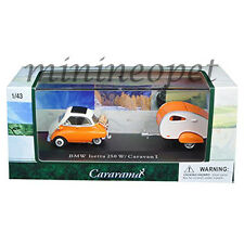 CARARAMA 14708 BMW ISETTA 250 with CARAVAN TRAILER & CASE 1/43 DIECAST ORANGE