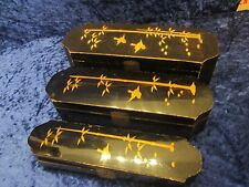 Three in One Antique Japanese Lacquered Wood Boxes Doves & Bamboo Motif