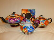 Vintage Joseph Mrazek Early Black Bird Mark Czech Floral Pottery Set