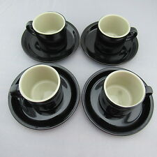 NEW Set of 4 Black Celebrity Stoneware Cappuccino / Espresso Cup & Saucer Sets
