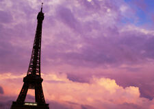 PARIS PURPLE PINK SUNSET NEW A1 CANVAS GICLEE ART PRINT POSTER