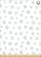 Susybee's Gwyn, the Penguin Snowflakes White 100% cotton fabric by the yard