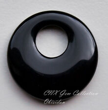 Natural Gemstone Crystal Large Hole Black Obsidian Flat Round Donut Pendant Rare
