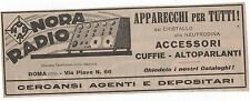 Pubblicità vintage RADIO NORA ROMA italian old advert reklame werbung publicitè