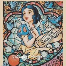Counted Cross Stitch SNOW WHITE Stained Glass - COMPLETE KIT #10-35 KIT