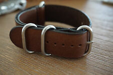 22mm Genuine Leather NATO Style Strap round buckle - Coffee Brown - Free Postage
