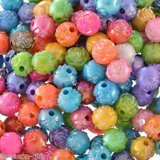 200PCs Acrylic Spacer Beads Flower Carved Round Mixed AB Color 3/8""