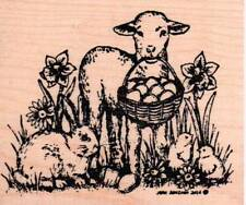 New NORTHWOODS RUBBER STAMP Easter Spring LAMB bunny Chicks free USA ship