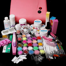 Pink 36W UV Dryer Lamp & 30 Color Acrylic Powder Gel Tips Nail Art Tools Kit Set