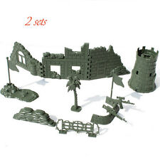 CHBR17 2set Military Tent Sandbag Fort Sentry Box Army Men Toy Soldier Accessory