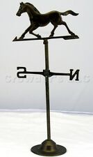 Vintage Aged Copper Running Horse Compass Decorative Weather Vane