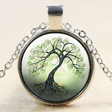 Vintage Tree of Life Cabochon Silver plated Glass Chain Pendant Necklace #09