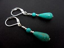 A PAIR OF TURQUOISE BLUE  SILVER PLATED TEARDROP LEVERBACK HOOK  EARRINGS. NEW.