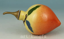 Old Porcelain Hand Painting peach Offer as a birthday present Snuff bottle Lucky