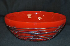 Art Glass Bowl Red Hand Made Fused  B. A. G. Signed New