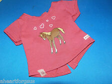 AMERICAN GIRL HORSE TEE SHIRT RETIRED 2014 fr WESTERN RIDING OUTFIT Hearts Pink