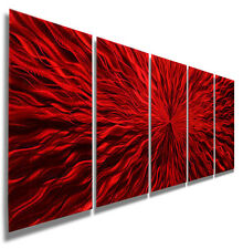 Red Contemporary Metal Wall Art Sculpture - Handpainted Decor by Jon Allen