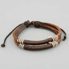 Men Coffee Leather Deep Coffee Rope Surf Bracelet Chain Wrastband New