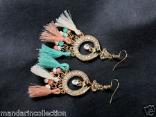 BOHO ETHNIC MULTICOLOR FRINGE TASSEL DROP EARRINGS* PEACH WHITE TURQUOISE