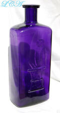 A GIGANTIC  old OWL DRUG bottle FULL QUART deep PURPLE AMETHYST - 10 inch TALL!