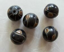 5 Large Carved Spotted Dark Brown Horn Round Beads 21mm