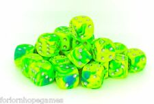 25 x 12mm Toxic D6 Spot Dice Six Sided plastic - Slime