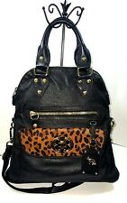 Emma Fox Classics Lg Convertible Tote Purse Handbag Black w Leopard fur accents.
