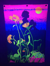 1972 Sunflowers & Frogs Vintage Black Light Poster Studio One 24X36 Head Shop