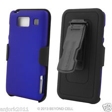 Motorola Droid Razr Maxx HD Hard Case+Holster Combo w/ Swivel Belt Clip Blue