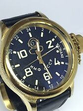 Invicta 7109 Russian Diver Swiss GMT Black Dial Black Leather Men's Watch (D46)