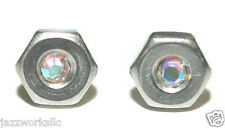 "STAINLESS STEEL 1/4"" NUT NUTS WITH CRYSTAL BLING STUD EARRINGS (S013)"